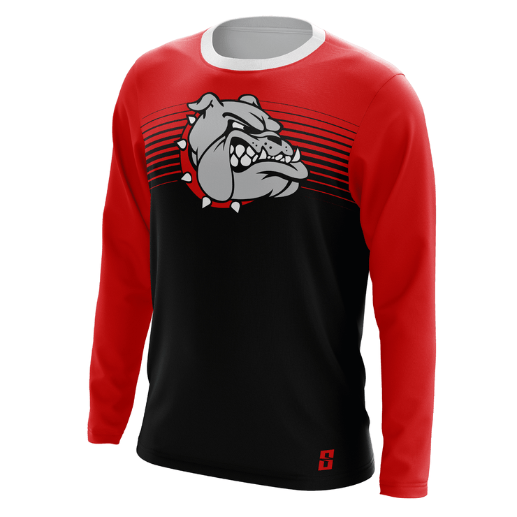 Image of the Eclipse Long-Sleeve Shooting Shirt from Str8 Sports with an image of a bulldog across the chest.