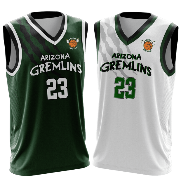 Image of two Arizona Gremlins Custom Basketball Jerseys from Str8 Sports, one green and one white.