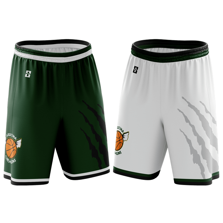 Image of two pairs of the Arizona Gremlins Custom Basketball Shorts from Str8 Sports, a green pair and a white pair.