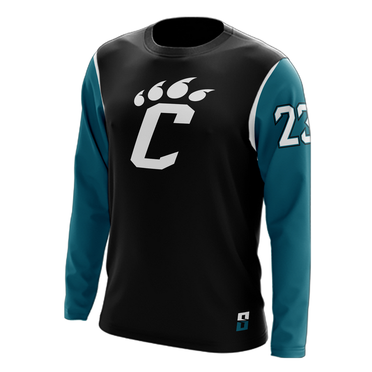 "Image of the Hybrid Long-Sleeve Shooting Shirt from Str8 Sports with the letter ""C"" on the chest."