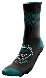 "Image of a single, black Custom Sock from Str8 Sports with a ""Park City Hoops"" logo."