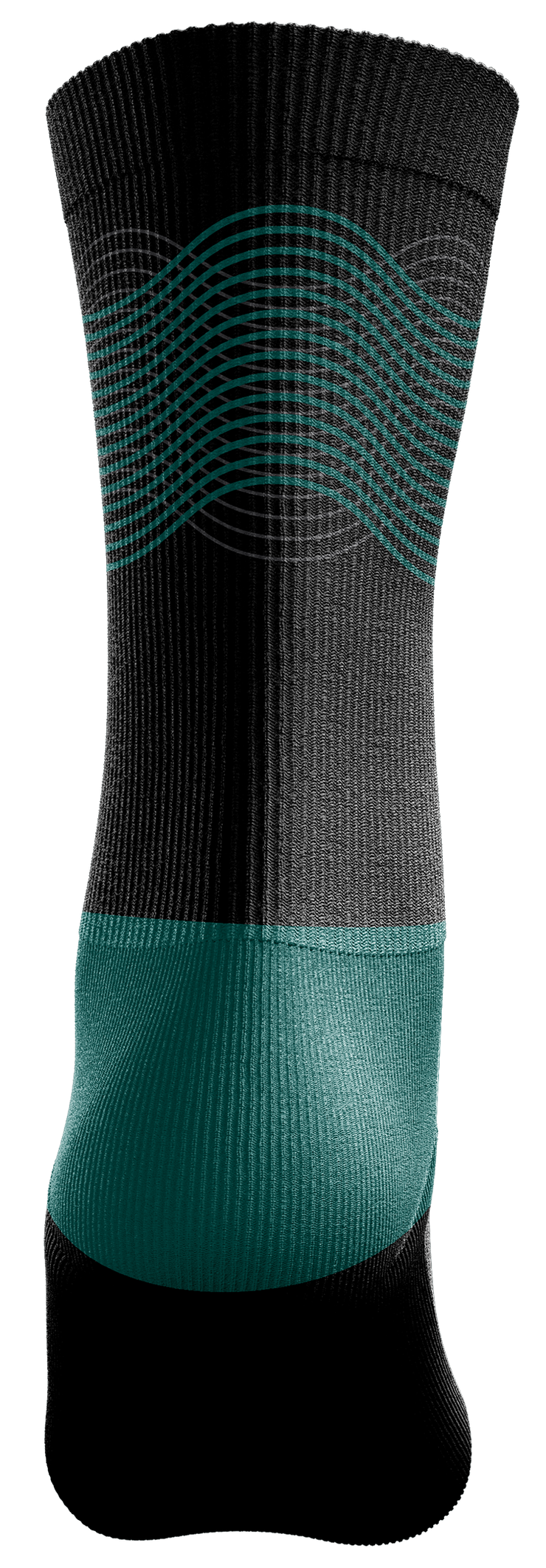 Image of the back of a single, black Custom Sock from Str8 Sports.