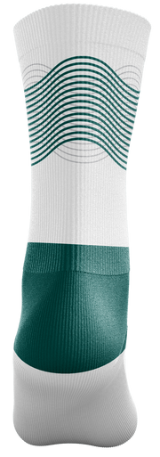 Image of the back of a single, white Custom Sock from Str8 Sports.