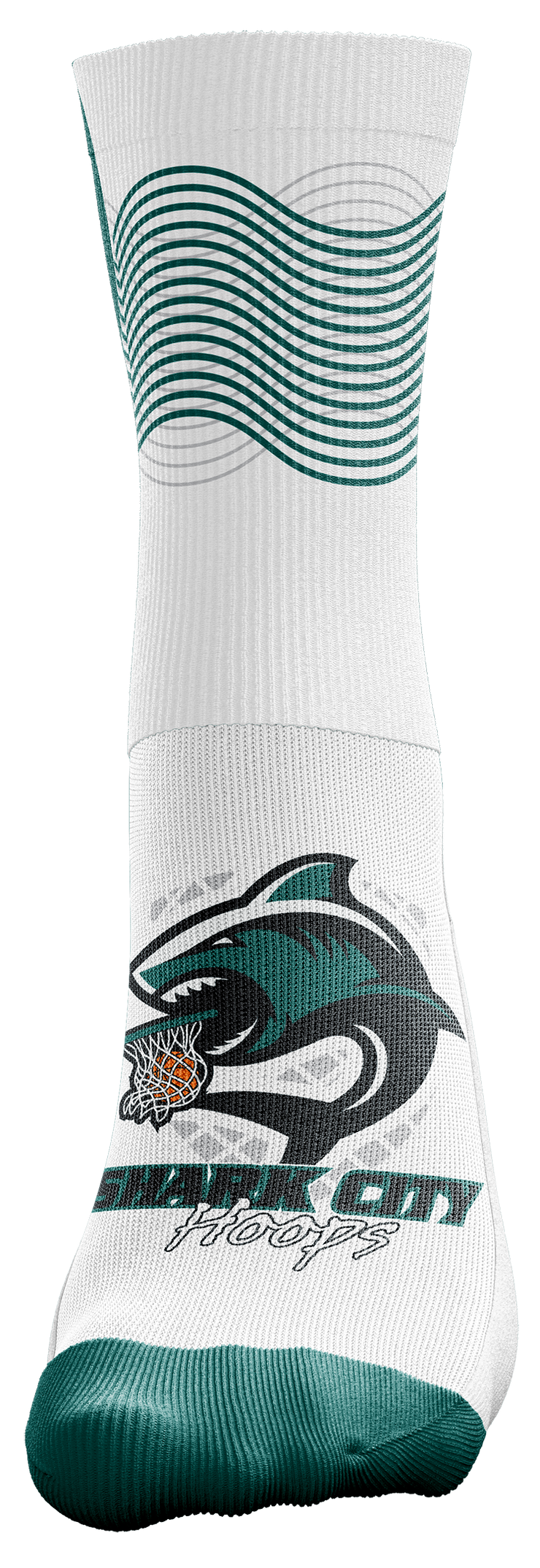 "Image of a single, white Custom Sock from Str8 Sports with a ""Park City Hoops"" logo."