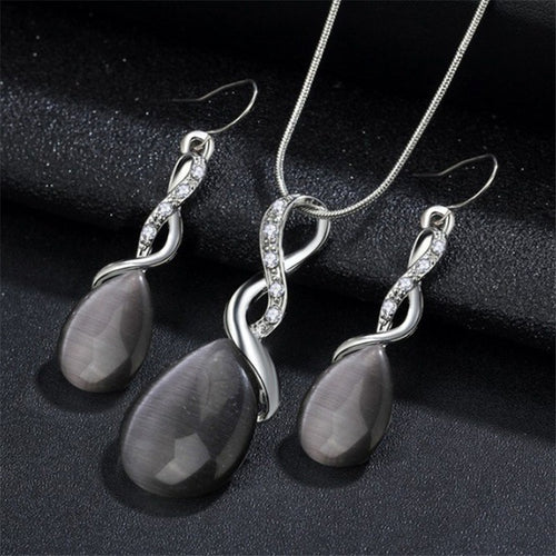 Fashion Opal Jewelry Sets For Woman Cubic zirconia Water Drop Necklace - topjewelry4u.com