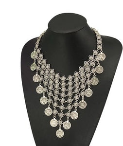 Coin Gypsy Ethnic Silver Maxi Necklace & Earrings - topjewelry4u.com