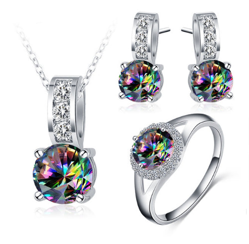 Glamorous Rainbow Mystic Cubic Zircon Silver Color Jewelry Sets - topjewelry4u.com