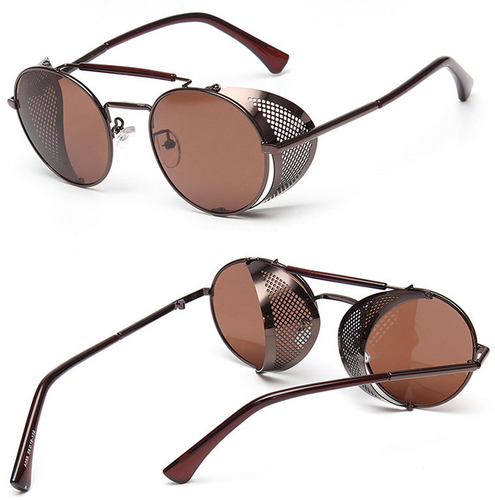 Light brown fashion steampunk sunglasses - topjewelry4u.com