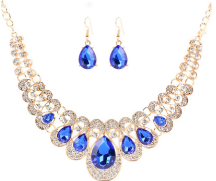 Europe and the United States retro ethnic style jewelry set crystal gem set geometric necklace earrings set female fashion jewelry - topjewelry4u.com