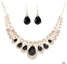Load image into Gallery viewer, Europe and the United States retro ethnic style jewelry set crystal gem set geometric necklace earrings set female fashion jewelry - topjewelry4u.com
