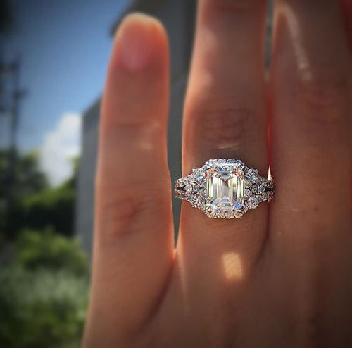 Wish hot new princess square simulation diamond ring wedding proposal - topjewelry4u.com