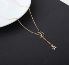 Load image into Gallery viewer, Simple Moon Star Necklace Clavicle Chain Short Necklace - topjewelry4u.com