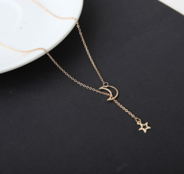 Simple Moon Star Necklace Clavicle Chain Short Necklace - topjewelry4u.com