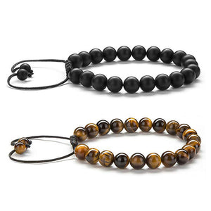 Tiger eye couple bracelets matte black agate beads bracelet - topjewelry4u.com