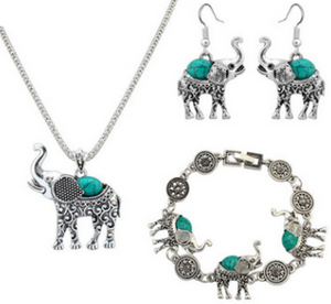 turquoise elephant carved three-piece suit jewelry - topjewelry4u.com