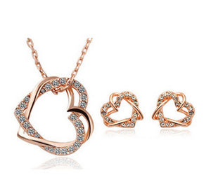 Double Diamond Heart Necklace Earring Set - topjewelry4u.com