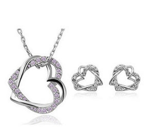 Yiwu Fashion Jewelry Factory Jewelry Customized Double Diamond Heart Necklace Earring Set - topjewelry4u.com