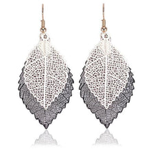 Load image into Gallery viewer, Double-layered leaves tassel earrings - topjewelry4u.com