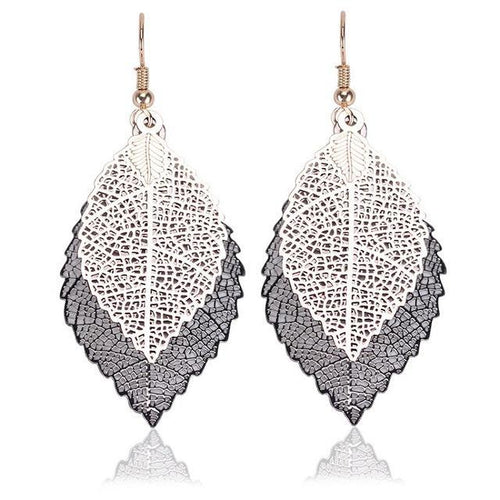 Double-layered leaves tassel earrings - topjewelry4u.com