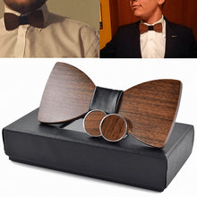 Load image into Gallery viewer, Cufflinks fashion wood bow tie - topjewelry4u.com