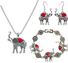 Load image into Gallery viewer, turquoise elephant carved three-piece suit jewelry - topjewelry4u.com