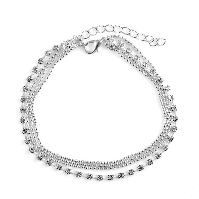Multi-layer Sexy Crystal Anklet Foot Chain Summer Bracelet Charm - topjewelry4u.com