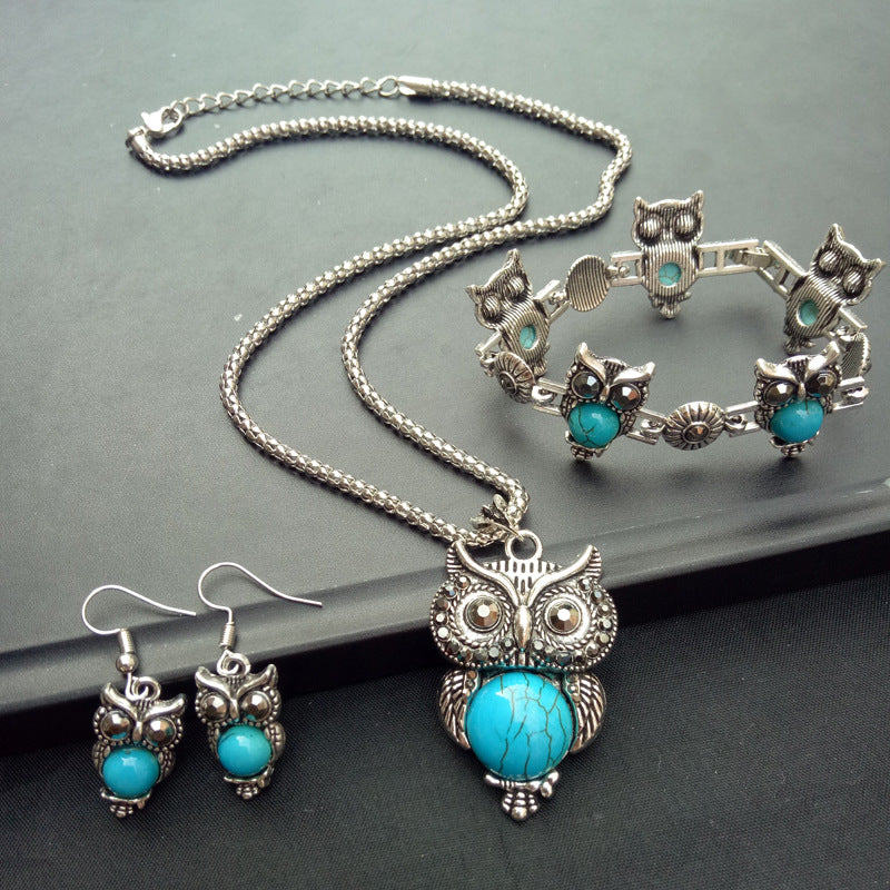 Vintage Turquoise Owl Necklace Earrings Bracelet Three-Piece Jewelry Set - topjewelry4u.com