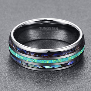 Nuncad 8mm Tungsten Caibide Wedding Ring Band Abalone shell And Synthetic Opal for Men and Women - topjewelry4u.com