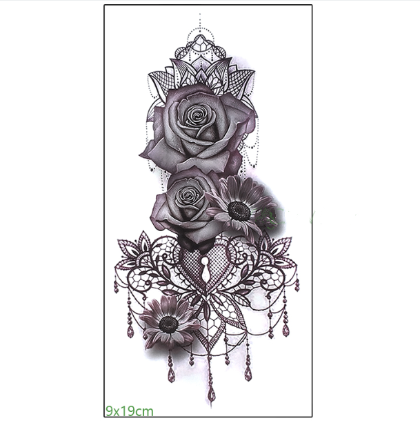Rose Lace Color Black and White Waterproof Tattoo Sticker Flower Arm Men and Women Sexy Beautiful Cool Classical - topjewelry4u.com