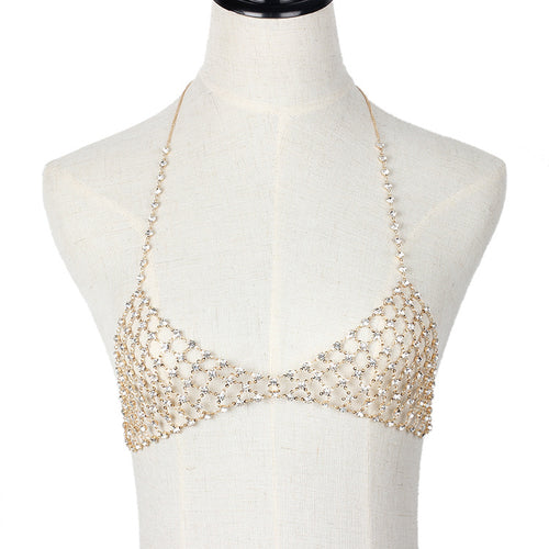 Fringed rhinestone multi-layer body chain Creative personality jewelry mesh chest chain chain - topjewelry4u.com