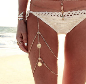 Boho Coin Silver Gold Thigh Leg Chain Waist Thigh Sexy Body Chains - topjewelry4u.com