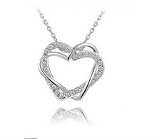 Load image into Gallery viewer, Double Diamond Heart Necklace Earring Set - topjewelry4u.com