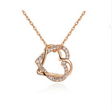 Load image into Gallery viewer, Yiwu Fashion Jewelry Factory Jewelry Customized Double Diamond Heart Necklace Earring Set - topjewelry4u.com