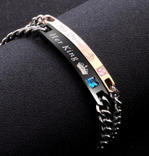 Load image into Gallery viewer, student's simple bracelet, his queen her king. - topjewelry4u.com