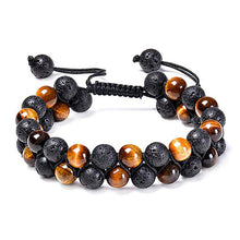Load image into Gallery viewer, Tiger eye couple bracelets matte black agate beads bracelet - topjewelry4u.com