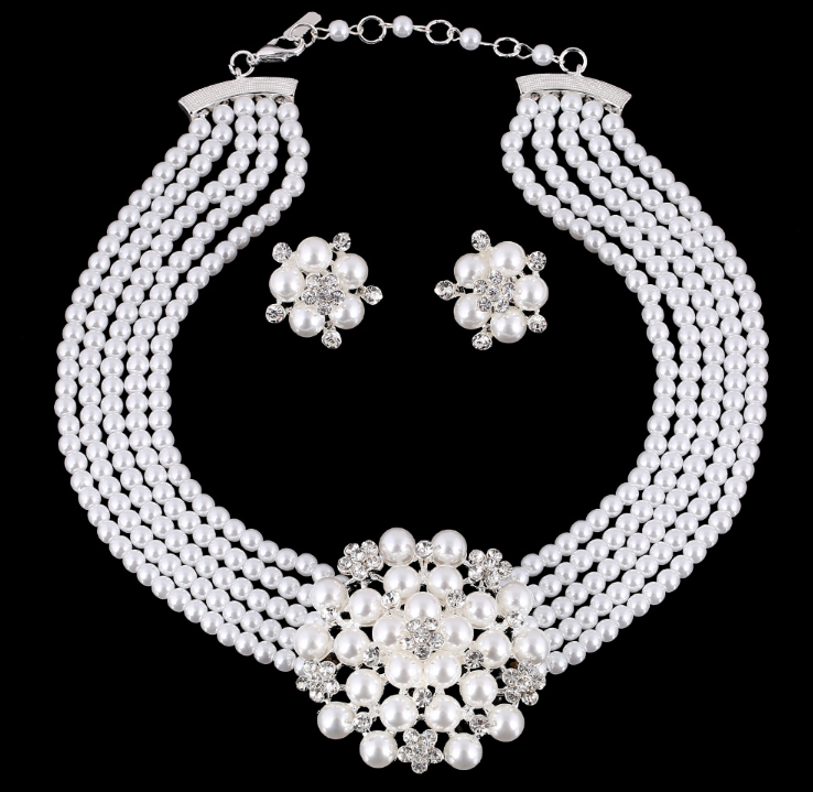 Fashion Luxury Textured Diamond Flower Pearl Set Necklace - topjewelry4u.com