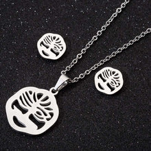 Load image into Gallery viewer, Creative simple three-piece stainless steel earring necklace - topjewelry4u.com