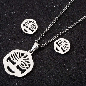 Creative simple three-piece stainless steel earring necklace - topjewelry4u.com