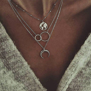 Multi-layer moon map necklace - topjewelry4u.com