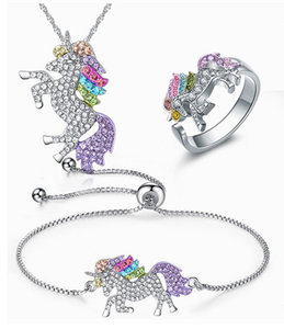 Unicorn Necklace Bracelet bridal suit - topjewelry4u.com