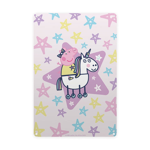 Peppa and Unicorn Metal Sign