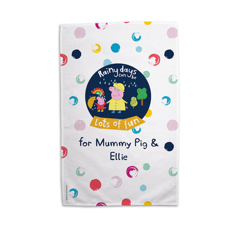 Rainy Days Mummy Pig Personalised Tea Towel