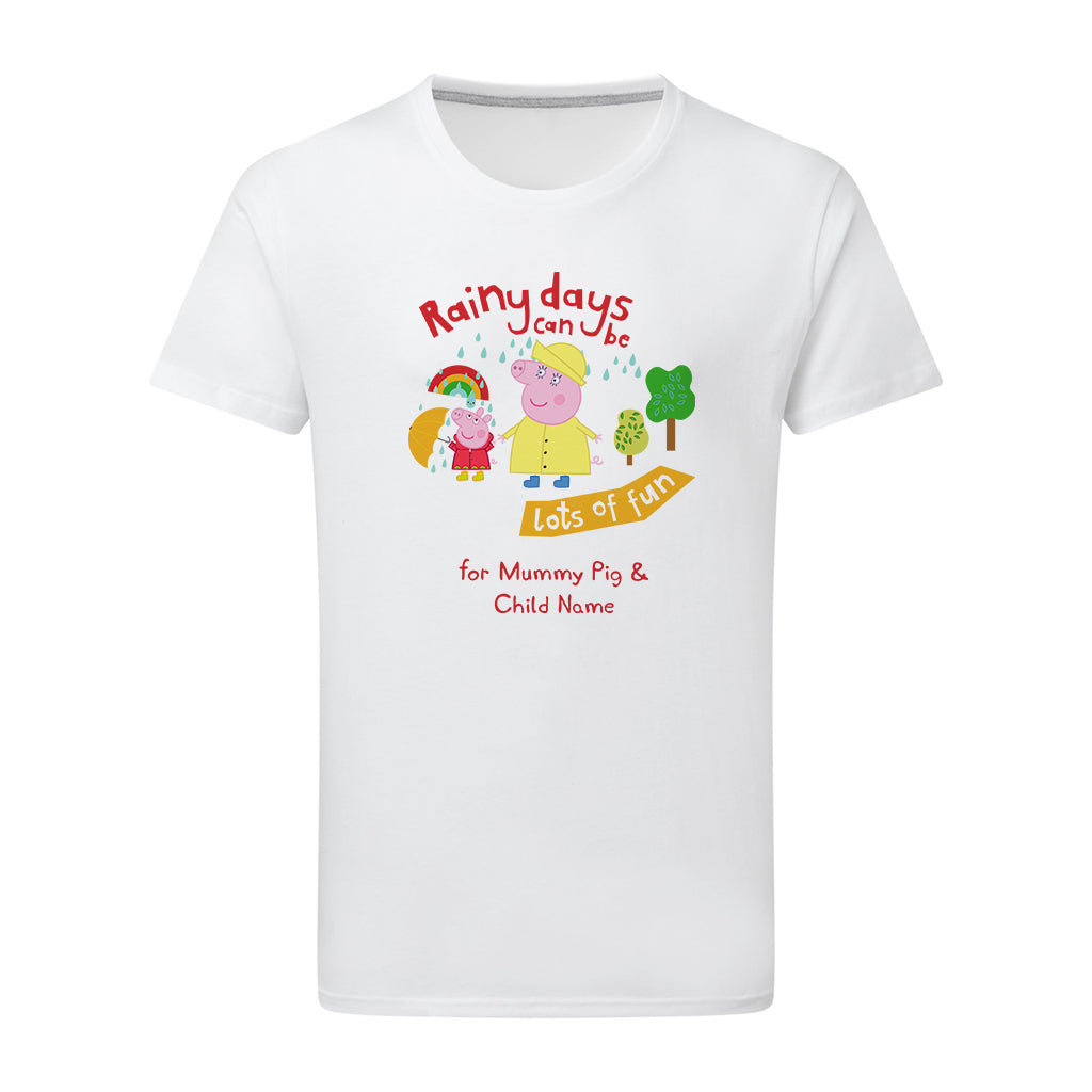 Rainy Days Mummy Pig Personalised T Shirt