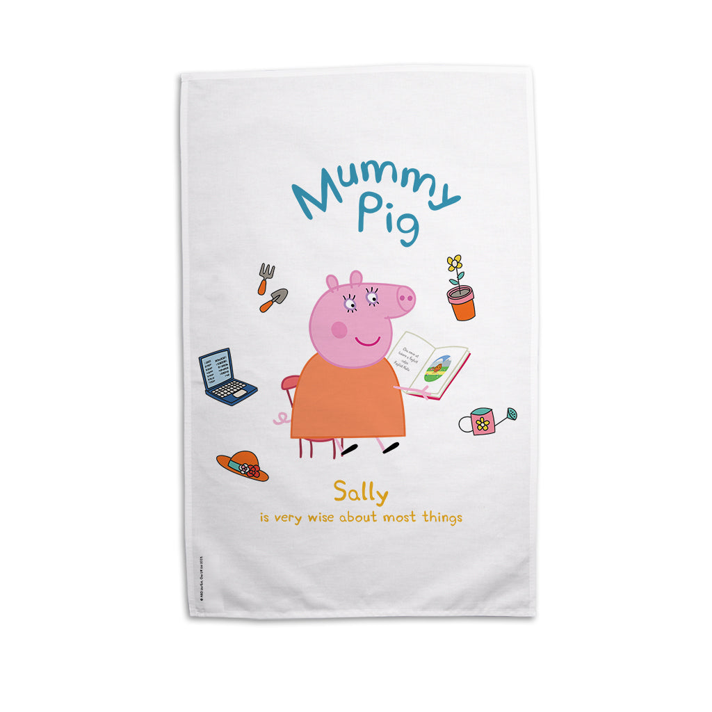 Very Wise Mummy Pig Personalised Tea Towel