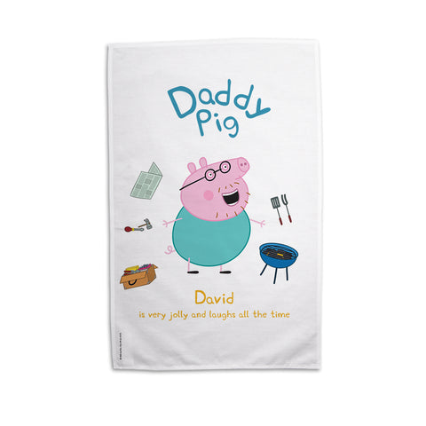 Very Jolly Daddy Pig Personalised Tea Towel