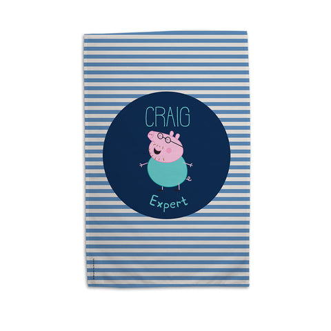 Expert Daddy Pig Personalised Tea Towel