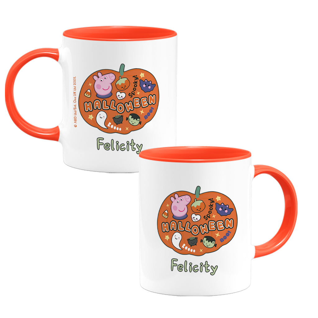 Halloween Pumpkin Personalised Coloured Insert Mug