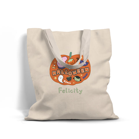 Halloween Pumpkin Personalised Tote Bag