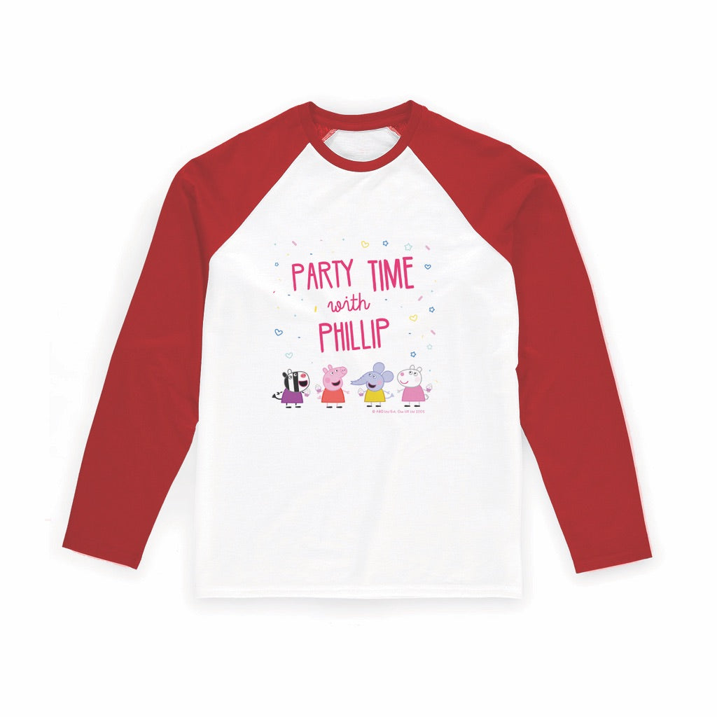 Party Time Long Red Sleeve T-Shirt Personalised Red Long Sleeved T-Shirt