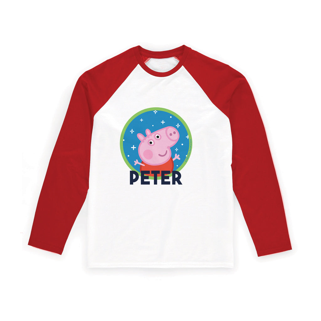 Space George Personalised Red Long Sleeved T Shirt